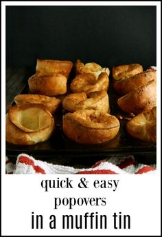 Popovers un.Muffin Tin These easy Popovers un…Muffin Tin make this beautiful baked good available to just about everyone and they cook faster than regular popovers. English Muffin Recipes, Muffin Tin Recipes, Muffin Tins, Muffin Tin Breakfast, Easy Popover Recipe, Leftover Pork Roast, Muffins, Baking Items, Cooking Recipes