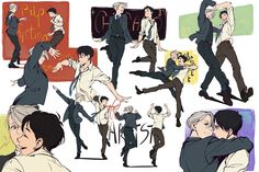 "pesky33: "" alderion-al: "" Not quite sure if Yuri likes cinema… But it's cute imagining Viktor playing along with a drunk version of him and imitating movie dances ~ "" This is amazing  """