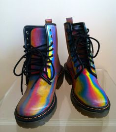 VTG 80s Rainbow Holographic Boots 6 by OnPointVintage on Etsy