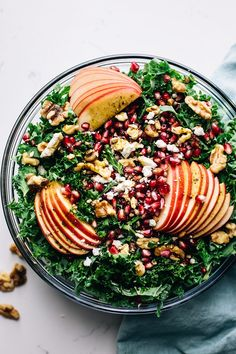 Pomegranate Harvest Salad – A Simple Palate - The most amazing fall salad that is full of greens, apples, pomegranate seeds, and nuts. This healt -Apple Pomegranate Harvest Salad – A Simple Palate - The most amazing fall sala. Thanksgiving Recipes, Thanksgiving Table, Salad Recipes, Healthy Recipes, Cod Recipes, Ramen Recipes, Roast Recipes, Avocado Recipes, Apple Chips