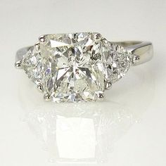 3.66ct Estate Vintage Radiant Cut Diamond EGL USA 3 stone Engagement Wedding Anniversary Ring in Platinum