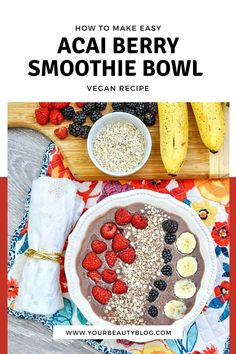 How to make acai berry bowl recipe. This mixed berry acai bowl is an easy and healthy breakfast recipe. Learn how to make a smoothie bowl recipe easy with banana for a healthy breakfast bowl. A vegan smoothie bowl uses almond milk. Add your favorite smoothie bowl recipe toppings. Acai berry smoothie bowl recipes is a healthy breakfast. Make an acai berry bowl recipe like the tik tok videos. Acai Berry Bowl, Acai Berry Powder, Mixed Berry Smoothie, Berry Smoothie Recipe, Smoothie Bowl, Acai Bowl Recipes Healthy, Healthy Breakfasts, Healthy Cooking, Cooking Tips