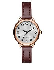 Betty Rose Goldtone and Leather Strap Watch SLMLG28IPRGBGST