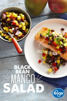 Cinco De Mayo Discover Black Bean Mango Salad This versatile mix of summer ingredients tastes great on almost anything and will add cheery color to your plate. Serve it with tortilla chips burgers grilled chicken or your favorite fish like salmon. Salad Recipes, Diet Recipes, Vegetarian Recipes, Cooking Recipes, Healthy Recipes, Recipies, Mango Recipes, Recipes Dinner, Cooking Tips