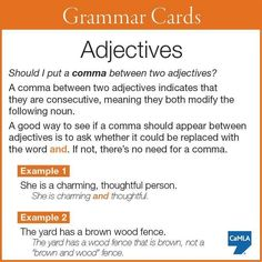 Putting a comma between two adjectives. -         Repinned by Chesapeake College Adult Ed. We offer free classes on the Eastern Shore of MD to help you earn your GED - H.S. Diploma or Learn English (ESL) .   For GED classes contact Danielle Thomas 410-829-6043 dthomas@chesapeake.edu  For ESL classes contact Karen Luceti - 410-443-1163  Kluceti@chesapeake.edu .  www.chesapeake.edu