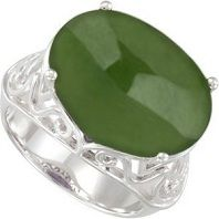 #Jewelry #Rings 8.3 Ct Nephrite Jade Ring in Sterling Silver Filigree