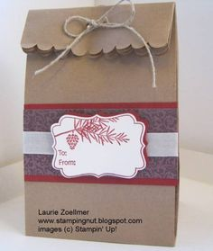Stampin' Up! Tags Till Christmas...like he lunch bag idea...cute, simple, cheap