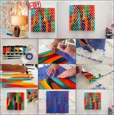 DIY Herringbone Painting Art