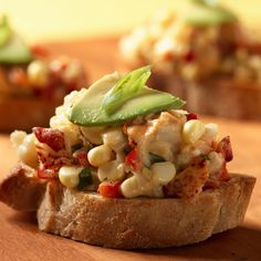 Lobster and Corn Bruschetta with Avocado