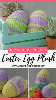 Crochet a beaituful easter egg plushie with just a little blanket yarn and about 30 minutes of time. Free crochet pattern for pillow eggs. Diy Crochet Easter Eggs, Easter Crochet Patterns, Crochet Toys, Free Crochet, Crochet Christmas Hats, Easter Egg Pattern, Easter Pillows, Plushie Patterns, Crochet Decoration