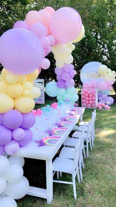 Rainbow Unicorn Party, Unicorn Themed Birthday Party, Rainbow Birthday Party, Unicorn Birthday Parties, First Birthday Parties, Unicorn Party Decor, 5th Birthday, 7th Birthday Party For Girls Themes, Birthday Banners