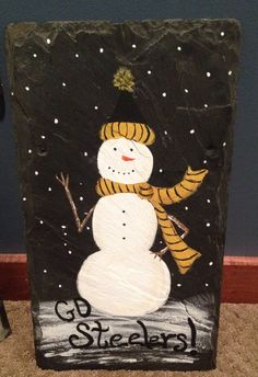 Steeler snowman slate