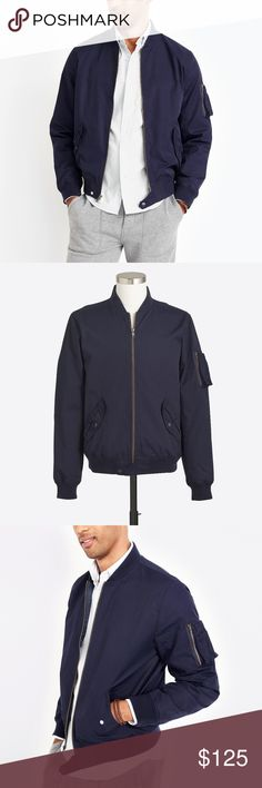New J Crew Mens XL Full Zip Bomber Jacket Blue J. Crew Bomber Jacket  Excellent jacket  New with Tags  Navy Blue  The size is XL and the measurements are 25 inches underarm to underarm and 26 inches top to bottom  Shoulder seam to shoulder seam is 20 inches and shoulder seam to cuff is 27 inches  Cotton/Nylon   Check out my other items for sale in my store!  Bag J. Crew Jackets & Coats Bomber & Varsity