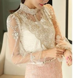 Vtg white gold bib lace crochet #pearl #victorian long #sleeve blouse top s m l, View more on the LINK: http://www.zeppy.io/product/gb/2/272498792284/