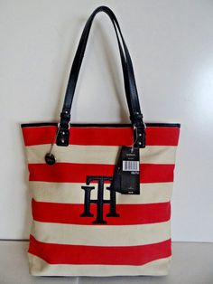 904ddeedcd4e3 NWT Tommy Hilfiger Women s Pink Off-White Medium Canvas Tote Travel Bag
