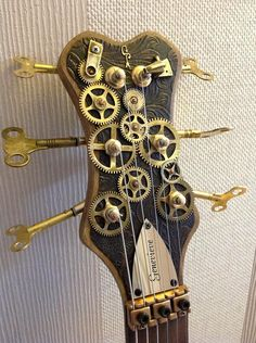 Beautiful Steampunk Guitar Steampunk Furniture, Steampunk Design, Gothic Steampunk, Steampunk Couture, Cool Guitar, Guitar Art, Music Guitar, Cigar Box Guitar, Cyberpunk