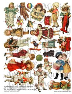 "Artfully Musing: CHRISTMAS ORNAMENTS – NEW COLLAGE SHEET ""A CHILD'S CHRISTMAS"""