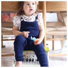 Knitting pattern on PDF for Paelas Overalls Sizes: 6 months (1 year) 2 year Yarn: Lille Lerke from Dale Garn, 3 (3)4 skeins. Needles: Circular needle 3.5 mm (o