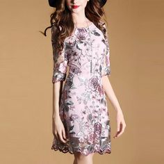 Women Floral Embroidery A-line Dress Knee Length Sundress Elegant Dres – Ozzy Bella All Great Apparel