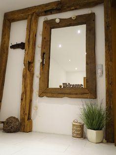 Mirror made of old oak beams, old wood mirror www. Mirror made of old oak beams, old wood mirror www. Ikea Furniture, Furniture Outlet, Pallet Furniture, Discount Furniture, Rustic Furniture, Mirror Crafts, Rustic Bathrooms, Modern Bathroom, Wood Mirror