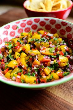 Peach Salsa. It's addictive! (Pssst. I use canned peaches. Tender & sweet!)