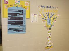 My box tops corner display that helps keep our students informed of our progress with Box Tops!