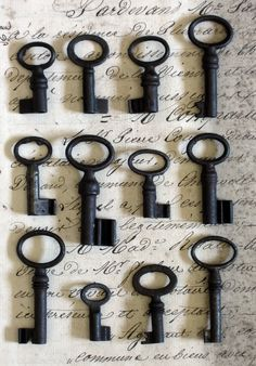 Nice Display of Vintage Antique Tiny French Brocante Skeleton Key Under Lock And Key, Key Lock, Antique Keys, Vintage Keys, Knobs And Knockers, Door Knobs, Cles Antiques, Old Keys, Key To My Heart