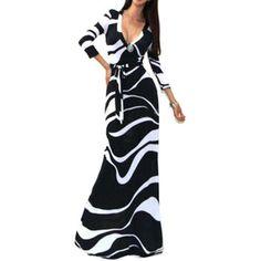 Rotita Printed Plunging Neck Sheath Maxi Dress