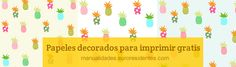 Free printable paper. Papel decorado para imprimir gratis con dibujos de piñas (ananas) http://manualidades.euroresidentes.com/2014/06/papel-decorado-con-estampado-tropical.html