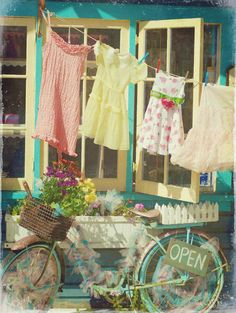 """Clothes line with cute pegs for baby clothes & bike Summer Cottage by Claire Brocato. Photo taken at the vintage/shabby chic store in Solana Beach called """"Out of the Blue. Vintage Love, Retro Vintage, Vintage Props, Vintage Heart, Retro Art, Vintage Colors, Old Bicycle, Retro Bicycle, Bicycle Decor"""