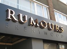 Polished rose gold finish letters with halo illumination & black gloss flat cut letters all mounted to a matt black sign tray for a stylish and sophisticated finish at Rumours bar in Brentwood Shop Signage, Retail Signage, Signage Design, Signage Board, Shop Board Design, Name Board Design, Backlit Signs, Barber Shop Decor, Salon Signs