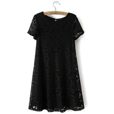 Yoins Black Crochet Lace Swing Dress (€22) ❤ liked on Polyvore featuring dresses, black, round neck lace dress, tent dress, swing dress, round neck dress and crochet lace dress