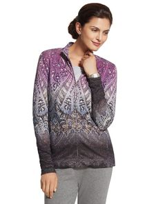 A zip-front jacket stands out with shimmery details and a print that pops.   Mixable, matchable, cozy-chic Zenergy