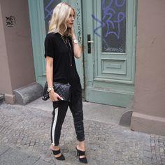 all details www.lisarvd.com Anine Bing T-Shirt, Set Fashion Leather Pants, Asos Heels, Chanel Boy Bag #lisarvd