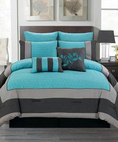 Blue & Smoke Barcelona Comforter Set This would match the paint in the master bedroom Dream Bedroom, Home Bedroom, Master Bedroom, Bedroom Decor, Bedroom Ideas, Bedroom Colors, Master Suite, Bed Sets, Bedroom Sets
