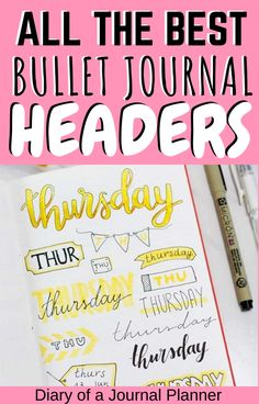 15 super easy to draw bullet journal banners and headers you need to try out in your next bullet journal spread! #bulletjournal #bulletjournalheaders #banners #headers #doodling #bujo