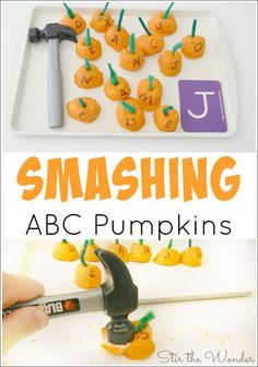 Have fun making pumpkin shaped baked cotton balls and smashing them all while practicing fine motor skills and letter recognition! Autumn Activities For Kids, Fall Preschool, Kids Learning Activities, Learning Letters, Alphabet Activities, Halloween Activities, Hands On Activities, Fun Learning, Preschool Activities