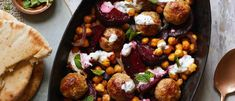 Make meatballs a healthy midweek dinner by pairing them with chickpeas, beetroot and toasted pittas to serve. This recipe is low in calories and salt, but high in protein Healthy Meatballs, Vegetarian Meatballs, Turkey Mince, Tray Bake Recipes, Natural Yogurt, Balanced Meals, Spaghetti And Meatballs, Batch Cooking, Dinner Dishes