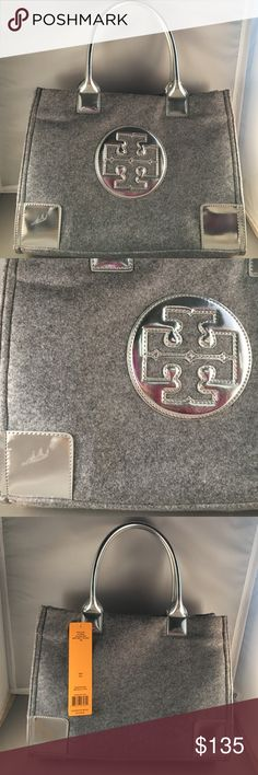 TORY BURCH mini Ella tote gray flannel silver NWT! NWT! Tory Burch mini Ella tote. Medium gray flannel with silver patent logo, handles, and corners. One corner of the patent has a scuff mark. Inside has one zippered logo pocket and two tech pockets. Snap closure. No dust bag. 9.5 inches high, 13.5 inch length. I am also selling the brown/bronze one Tory Burch Bags Totes
