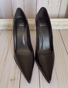New Stuart Weitzman Black Leather heels pumps Pointed toe women Sz 8 M #StuartWeitzman #PumpsClassics #WeartoWork