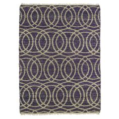 Kaleen Rugs Handmade Fiber Cayon Purple Circles Rug
