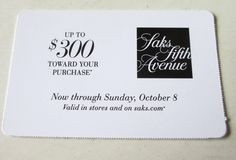 cool Saks Fifth Avenue Coupon As much as $300 Off Buy In retailer and saks.com Exp 10/eight Check more at https://aeoffers.com/product/gift-cards/saks-fifth-avenue-coupon-as-much-as-300-off-buy-in-retailer-and-saks-com-exp-10eight/