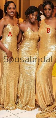Gold Mismatched Sequin Mermaid Long Bridesmaid Dresses WG879 Rustic Wedding Gowns, Country Wedding Dresses, Princess Wedding Dresses, Champagne Bridesmaid Dresses, Modest Bridesmaid Dresses, Bridesmaids, Two Piece Wedding Dress, Fit And Flare Wedding Dress, African Wedding Dress