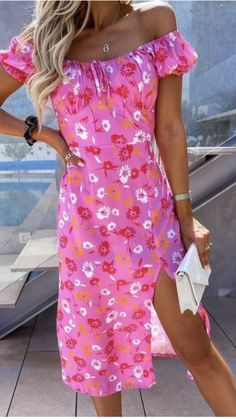 Pink midi dress, pink dress, pink occasion wear dress, occasion wear dress, bardot midi dress, bardot dress, off the shoulder dress, floral print dress Bardot Midi Dress, Pink Midi Dress, Midi Skirt, Occasion Wear Dresses, Off The Shoulder, Shoulder Dress, Dress First, Online Boutiques, Fashion Online