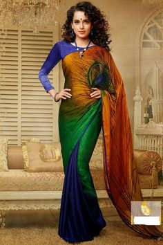 Description Enchant The Mantra Of Being Stylish In This Attire. Pamper The Women In You With This Beautiful Greenish Orange, Greeen and cobalt blue color Faux Georgette Saree. It Has Been Beautifully Designed With Bugle Beads Cutdana|Patch Work|Resham|Stones Work.  Color Cobalt blue,Green,Orange Occasion Festival,Mahendi,Party,Sangeet,Special occasion
