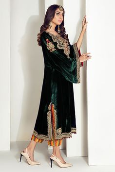 Velvet Pakistani Dress, Simple Pakistani Dresses, Pakistani Dress Design, Pakistani Outfits, Pakistani Clothing, Indian Dresses, Designer Party Wear Dresses, Kurti Designs Party Wear, Indian Designer Outfits