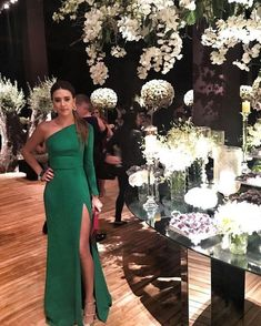 Sheath green prom dress , one shoulder prom gown with slit, Shop plus-sized prom dresses for curvy figures and plus-size party dresses. Ball gowns for prom in plus sizes and short plus-sized prom dresses for Long Prom Gowns, Strapless Dress Formal, Evening Dresses, Gown With Slit, The Dress, Slit Dress, Bridesmaid Dresses, Prom Dresses, Wedding Dresses