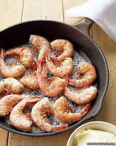 Salt-and-Pepper Shrimp with Aioli  Seared shrimp are seasoned with a sprinkling of salt and complemented by a tangy aioli dipping sauce.