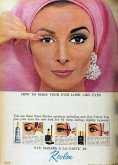 Wilhemina Cooper for Revlon eye makeup, 1964
