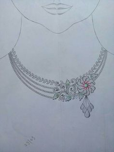 N/A New Jewellery Design, Jewelry Design Drawing, Diamond Necklace Set, Pearl Pendant Necklace, Real Gold Jewelry, Jewelry Art, Wedding Dress Sketches, Jewelry Illustration, Jewellery Sketches